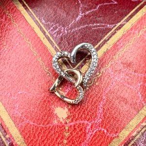 Kay jeweler silver rose gold Diamond heart pendant